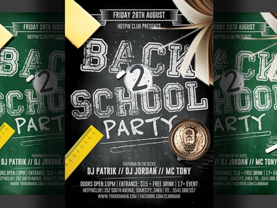 Back To School Party Flyer Template 2 By Hotpin Dribbble Dribbble