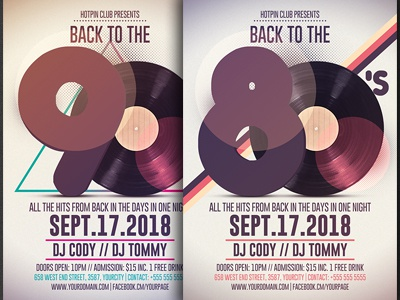 80s 90s retro party flyer template by hotpin dribbble dribbble