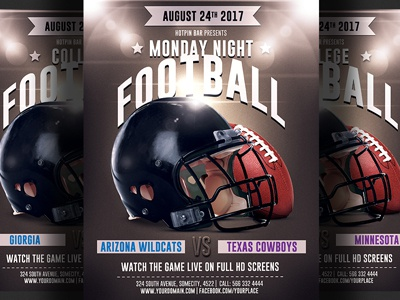 American Football Game Flyer Template By Christos Andronicou  Dribbble