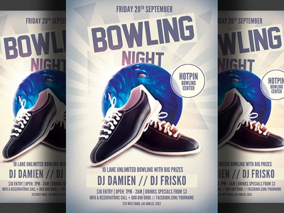 Bowling Night Party Flyer Template By Christos Andronicou - Dribbble
