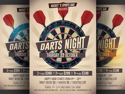 Darts Night Flyer Template By Christos Andronicou Dribbble