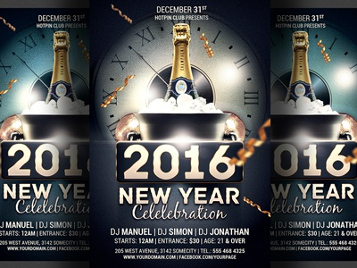 New Year Celebration Party Flyer Template By Christos Andronicou