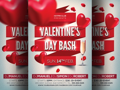 Valentines Day Bash Party Flyer Template