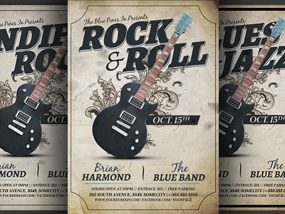 Rock N Roll Concert Flyer Template By Christos Andronicou Dribbble