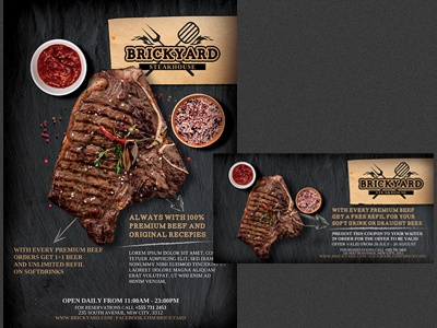 Grill Steak Restaurant Flyer Template By Hotpin Dribbble Dribbble