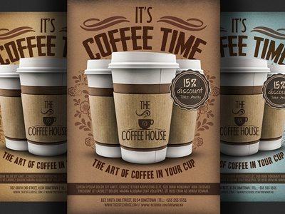 coffee shop promotion flyer template by hotpin dribbble dribbble