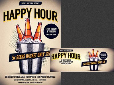 Happy Hour Beer Promotion Flyer Template By Christos Andronicou