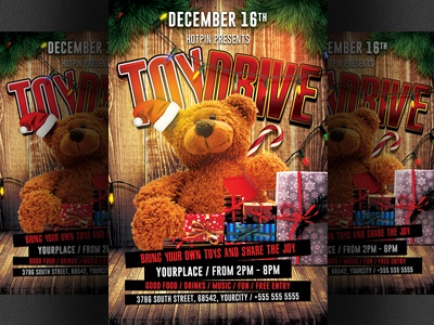 christmas toy drive flyer template by hotpin dribbble dribbble