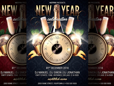 New Year Party Flyer Template By Christos Andronicou  Dribbble
