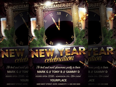 new year party flyer template nye 2018 print poster nye flyer nye night club new years