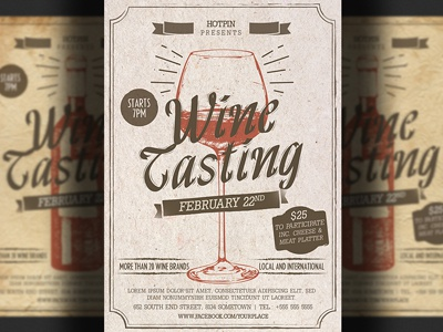 Wine Tasting Flyer Template By Hotpin Dribbble Dribbble