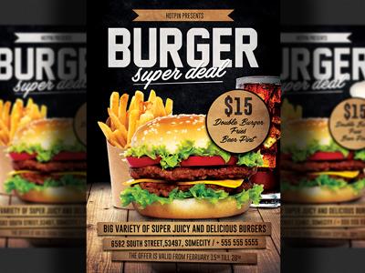Fast Food Burger Promotion Flyer Template