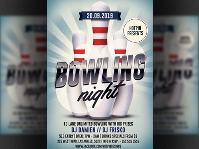 bowling night flyer template by christos andronicou dribbble. Black Bedroom Furniture Sets. Home Design Ideas