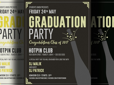Graduation Party Flyer Template By Christos Andronicou - Dribbble