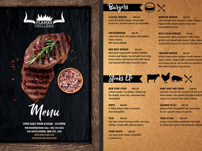 Grill Bar Restaurant Menu Flyer Template By Christos Andronicou
