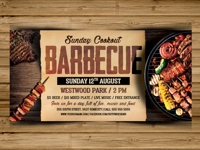 barbecue bbq flyer template by hotpin dribbble dribbble