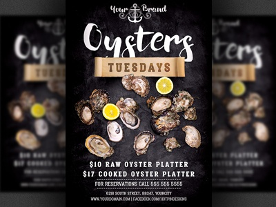 Seafood Oysters Restaurant Flyer Template By Christos Andronicou