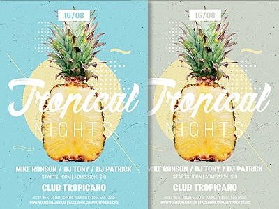 tropical nights party summer flyer template by hotpin dribbble
