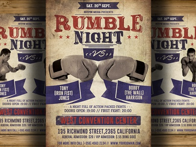 Vintage Boxing Flyerposter Template By Christos Andronicou Dribbble