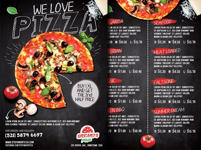 pizza promotion flyer menu by christos andronicou dribbble