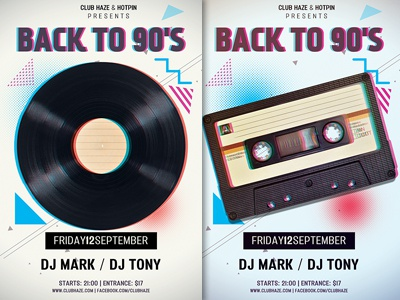 Retro 90s Party Flyer Template By Christos Andronicou Dribbble
