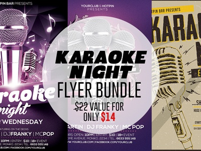 Karaoke Night Party Flyer Bundle talent show sing competition poster party open microphone open mic modern mic live karaoke party karaoke night karaoke flyer