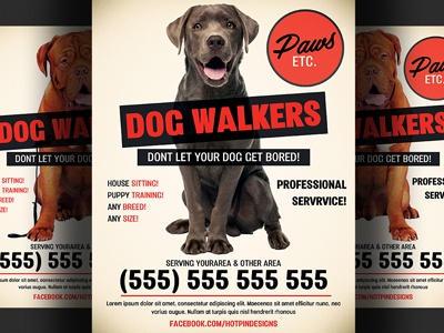 Dog walker flyer template by christos andronicou dribbble dog walker flyer template maxwellsz