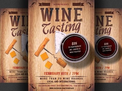 Wine tasting flyer template by christos andronicou dribbble wine tasting flyer template maxwellsz