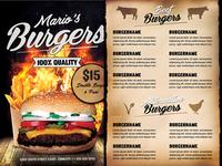 Fast Food Burger Menu Flyer