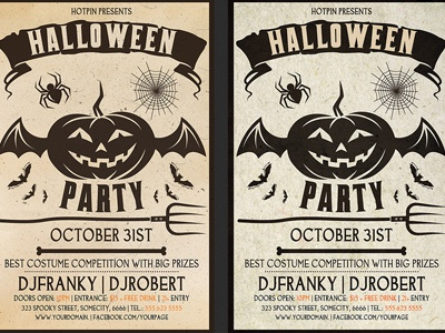 vintage halloween party flyer template by hotpin dribbble dribbble