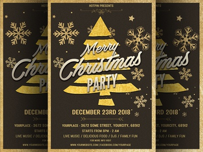 gold christmas party flyer template by hotpin dribbble dribbble