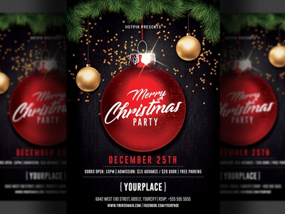 merry christmas party flyer template by hotpin dribbble dribbble