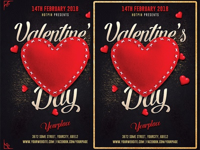 Valentines Day Flyer Invitation Template By Christos Andronicou - Valentine's day invitation template