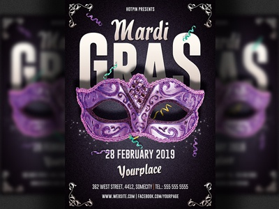 Mardi Gras Party Flyer Template By Christos Andronicou Dribbble