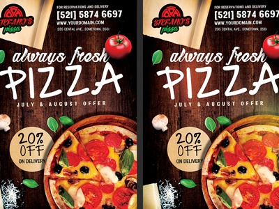 pizza restaurant pizzeria flyer template