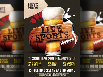 Sports Bar Flyer Template by Christos Andronicou - Dribbble
