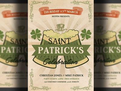 Saint Patricks Day Flyer Template st. patricks flyer st. patricks party st. paddys party saint patricks saint patrick saint paddys pub psd flyer print party flyer lucky irish