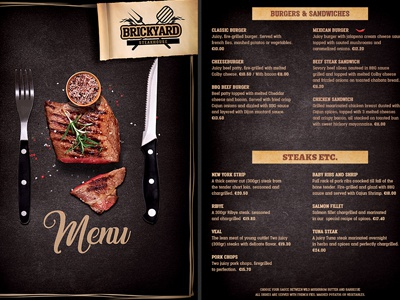 Grill Restaurant Menu Flyer Steakhouse By Christos Andronicou  Dribbble