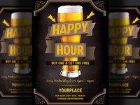 Beer Promotion Happy Hour Flyer Template