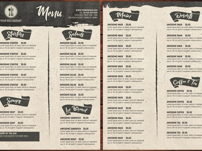 Modern Restaurant Menu Template By Christos Andronicou  Dribbble