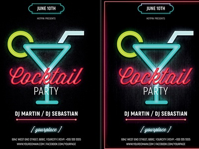 Neon Cocktail Party Flyer Template by Hotpin on Dribbble