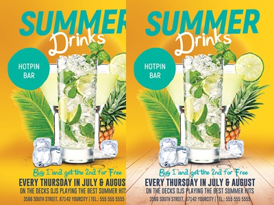 summer drinks promotion flyer template by hotpin dribbble dribbble