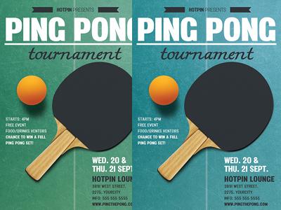 Ping Pong Flyer Template Table Tennis Tournament Sports Bar Psd
