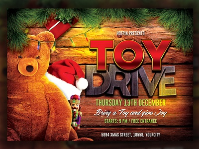 Christmas Toy Drive Flyer xmas toy drive xmas party toys toy for tots toy drive toy 4 tots toy template santa party holiday flyer template christmas flyer christmas event christmas charity christmas bash christmas charity