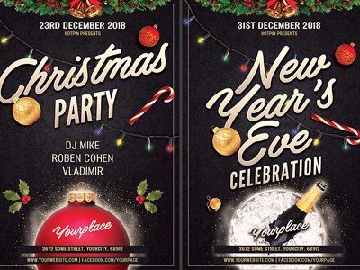 christmas new year flyer template