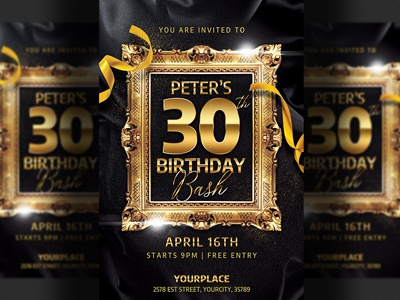 birthday bash invitation flyer template by hotpin dribbble dribbble