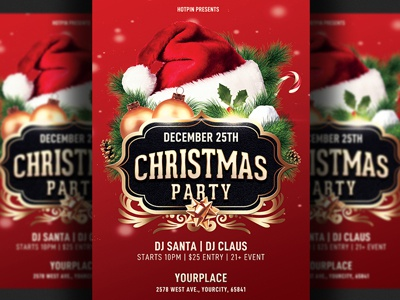 Christmas Party Flyer Template.Christmas Party Flyer Template By Hotpin On Dribbble