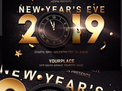 New Years Eve Flyer Template Party Nye Invitation Nightclub