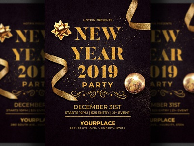 classy new year flyer invitation template by hotpin dribbble