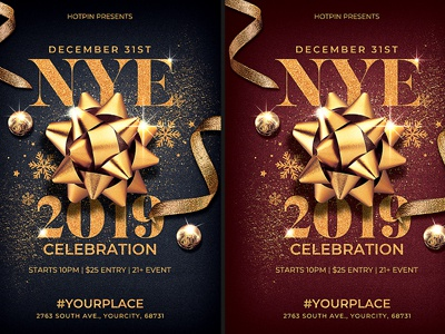 new year flyer invitation template by hotpin dribbble dribbble
